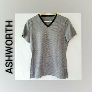 Ashworth V Neck Striped Navy White Short Top Med